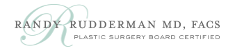 Randy Rudderman MD FACS Logo With Tagline Text of Plastic Surgery Board Certified