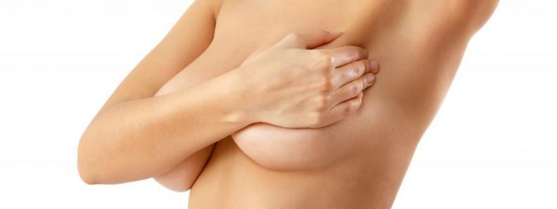 Woman Hold Left Breast